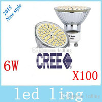 Wholesale Cree Mr16 12v Leds - Cree 6W GU10 Led Bulbs Light 60 Leds 3528 SMD Cool White Warm White E27 MR16 Led Spotlights Lamp 110V 220V 12V