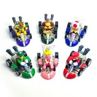 Wholesale Mario Karts - Christmas gifts 6pcs Lot Super Mario Bros Karts Pull Back Cars PVC Action Figure Collection Model Toys Dolls