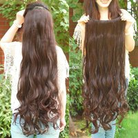 Wholesale Super Curls Hair Extensions - Free shipping Super Long one piece 5 clips in hair extensions amazing curl synthetic hair for full head