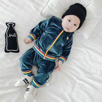Wholesale Warm Pants For Kids - Baby Suits 2pcs Long Clothes + Pants Boy Girl Pleuche Soft Warm Clothing for Little Kid Infant Pink Navy Blue Toddler Sets 6M-3T