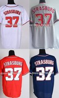 Mens Womens Kids Toddlers Washington 37 Stephen Strasburg bleu gris rouge blanc 100% cousu Cool / Baseball Baseball Jerseys
