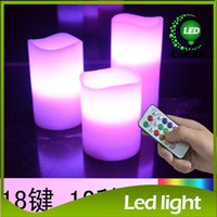 Wholesale Led Color Changing Candle Battery - LED Candle Lights Battery Electronic Timing Control Colorful Electronic Candle Light Remote Control Color-changing Light LED Candle Lamps