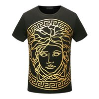 Wholesale Tshirt Luxury - famous Summer luxury europe Cotton tshirt fashion designer gold stamp medusa palace Harajuku color print Men Brand casual t-shirt tee top