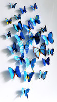 Wholesale Cartoon Character Bedroom Sets - Cute 12pcs per set 3D Butterfly Wall Stickers Butterflies Docors Art DIY Decorations Paper mixed colors Christmas Decoration E6M