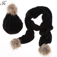 Wholesale Womens Scarf Gloves Set - Wholesale-Brand New Womens Scarf and Hats Sets Stylish Women Ladies Autumn Winter Warm Faux Fur Knitted Hat + Scarf 2Pcs Sets 5 Colors