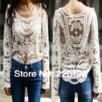 Wholesale Dress Semi Sexy - Women's Blouse 2015 Black white Dress Sweet Semi Sexy Sheer Long Sleeve Embroidery Floral Lace Crochet Tee Top T shirt Vintage XXL