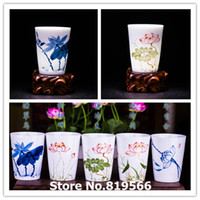 Wholesale Novelty Cups - Wholesale-Chinese Jingdezhen Ceramic Tea Cup150ml Novelty Host Blue and white porcelain Cup Kung Fu Tea Set Service