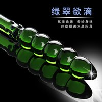 Wholesale Glass Dildos For Sale - Wholesale-Hot Sale Green Pyrex Crystal Glass Dick Five Round Beads For Women False Penis Anal Butt Plug Sex Dildos Products
