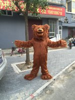 mascotes de urso adulto venda por atacado-Profissional personalizado High-end cabelo brown bear Mascot Costume Fancy Party Dress Adult