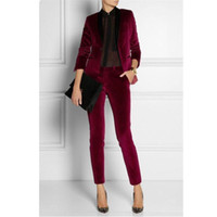 Wholesale ladies office pants fashion - Velvet Women Ladies Business Office Tuxedos Formal Work Wear New Fashion Suits 2 pieces (jacket + pants) made to order