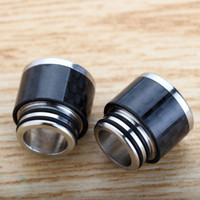 Wholesale E Cigarette Fiber - TFV8 Drip Tip Stainless Steel and Carbon Fiber Material 810 Mouthpieces Fit TFV12 Tank E Cigarette DHL Free