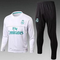 Wholesale Train Suits - TOP THAI QUALITY new 17-18 Real Madrid men's soccer chandal white football tracksuit 2017-2018 adult training suit skinny pants Sportswear