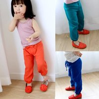 Wholesale Thin Cotton Tights Girls - Girls Pants Summer Children's Pants Lantern Trousers Summer Thin Comfortable Casual Pants 4 Colors 5 p l