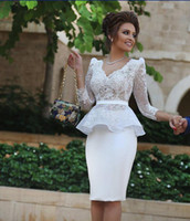 Wholesale White Dresses For Women Cocktail - Long Sleeve V Neck Knee Length Cocktail Dresses 2015 Peplum Sheath Lace Short Party Dresses Prom Formal Gowns Women Dresses for Women