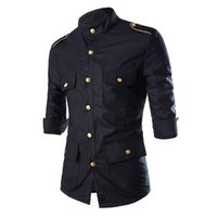 Wholesale Unique Design Shirts - Wholesale-Unique Design Black Man Shirt Gold Button Epaulet Chris Brown Army Style Shirt Three Quarter Stand Collar Fashion Men Clothes