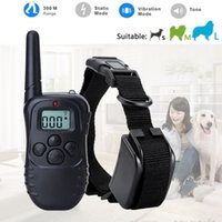 Wholesale Remote Pet Training - 300 Meters Remote Control Electric Anti-bark Pet Dog Training Collar 100lv Shock Vibra Trainer Lcd Display Retail Box