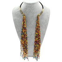 Wholesale Resin Statement Chain - New Design High Quality Women Accessories Fashion Chokers Chain Resin Tassels Pendants Casual Long Necklaces Statement Jewelry
