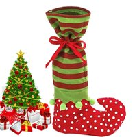Wholesale Santa Boots Decorations - Large Christmas Elf Stockings Santa Claus Boots Style Candy Gift Bags For Kids By DHL Shipping