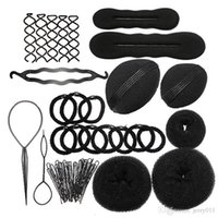 Wholesale Sponge Rollers Hair Clip - 9 In 1 Pro Hair Bun Clip Maker Pads Hairpins Roller Braid Twist Sponge Styling Accessories Tools Kit Set