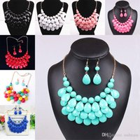 Wholesale Red Statement Bubble Necklace - Drop necklace earrings Sets Multilevel Acrylic Bubble Bead Chokers Necklaces Gold statement Necklaces women jewelry Christmas gift 160038