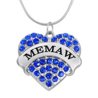 Wholesale Engagement Signs - New Arrival Fashion Simple Design Rhodium Color Crystal Heart Sign MEMAW Pendant Necklaces Pendant Jewelry Making
