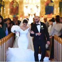 Wholesale Muslim Robes - 2018 Modest Mermaid Wedding Dresses plus size lace up corset Robe De Mariage Sexy V neck backless wedding Bridal Gown Vestido De Noiva