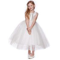 бисерный ремень для свадебного платья оптовых-Простые платья для девочек-цветочниц Длинные вечерние платья для девочек на заказ Свадебное платье с поясом для бисера