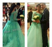 Wholesale Mint Color Long Sleeve Dresses - 2015 Spring Long Sleeves Applique Beaded Sheer Neck Ball Gown Tulle Sweep Train Wedding Dresses Mint Colorful Wedding Dress