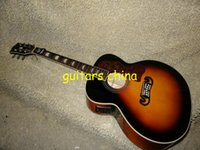 Wholesale Hollow Body Acoustic Electric Guitar - NEW 2015 Acoustic Electric Guitar SJ 200 singlecut Vintage Sunburs in stock Free Shipping