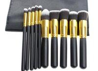 Wholesale Eyeshadow Leather Case - Free DHL Makeup Brushes Tools Sets 10 pcs Make Up Brushes Set Professional Portable Full Cosmetic Brush Eyeshadow Lip Brush leather case