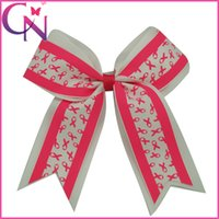 Wholesale Breast Clip - Wholesale 30 pcs lot 6.5 inch Breast Cancer Awareness Printed Baby Girls Double Layers Ribbon Cheerleading Bows With Alligator Clip