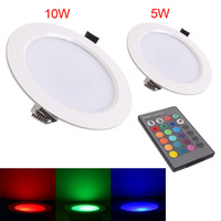 Wholesale Recessed Power - High Power 5W 10w LED Panel Light ceiling lamp Down Lights Recessed spot lamp Bulbs with remote RGB AC85-265V CE ROHS
