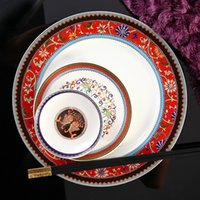 Wholesale Continental Porcelain - Wholesale-[ Vatican Kasha ] grade 88 bone china tableware suits Continental porcelain bowl ceramic dishes and creative dishes shipping