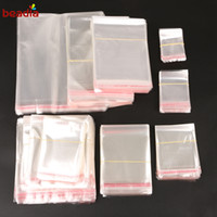 Wholesale Transparent Pouch Gift - Jewelry Packaging 200pcs No Holes Small Baggies Gift Candies Packing Bags Transparent Clear Self-Adhesive Plastic Storage Bag