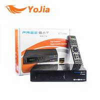 Wholesale Dvb Combo - [Genuine] Freesat V7 Combo Satellite Receiver DVB S2 + DVB T2 Combo Receiver Support PowerVu Biss Key Cccam Newcam Youtube Youporn