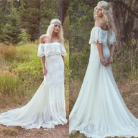 Wholesale Sexy Cream Gown - Vintage Bohemian Wedding Dresses 1970s Hippie Bridal Gowns Off The Shoulder A-line Cream Ivory Chiffon Lace Boho Wedding Dress Custom EN972
