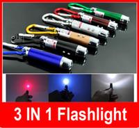 kugelschreiber taschenlampe großhandel-3 in 1 5 MW Laser Pen Pointer + Mini LED Taschenlampe Taschenlampe + Notfall Keychain Freies Verschiffen