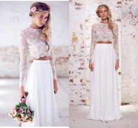 Wholesale bohemian beach line wedding dresses for sale - Group buy Spring Two Pieces Crop Top Beach Bohemian Wedding Dresses Chiffon Ruched Floor Length Wedding Gowns Lace Long Sleeve Bridal Dress