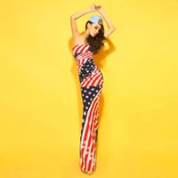 Wholesale Women American Flag Dress - New summer woman European and American fashion sexy stars flag stripe dress, fishtail dress that wipe a bosom night gown