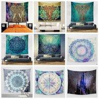 Wholesale Peacock Throw - 22 Designs 150*130cm Tapestries Bohemian Mandala Beach Tapestry Hippie Throw Yoga Mat Towel Elephant Peacock Beach Shawl CCA7855 100pcs