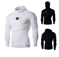 Wholesale Turtleneck T Shirts Short Sleeve - New Fashion Personality T-shirt Long Sleeve Head Masked Turtleneck Collar Badge long Sleeved T-shirt