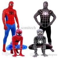 Wholesale Zentai Anime Cosplay Costumes - Wholesale-Spider-Man Black Venom Kids Adult Superhero Lycra Spiderman Hero Zentai Halloween Cosplay Costume