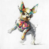 paintings on glass - Dancing Dog Wearing Glasses Hand painted Oil Painting on Canvas Mural Art Animal Drawing for Office Bedroom Wall Decoration