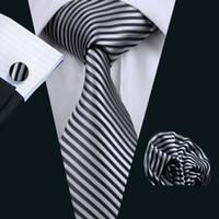 mens siyah kol düğmeleri toptan satış-Şerit Kravat Mendil Kol Düğmeleri Seti Jakarlı Dokuma İpek Gri Siyah Mens Kravat Set İş Çalışma Resmi Toplantı Eğlence N-0915