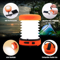 Wholesale Emergency Charger Led Torch - LED Camping Lantern USB Rechargeable Mini Flashlight Torch Light Lamp Collapsible Hand Crank Hiking Light Emergency Cell Phone Charger