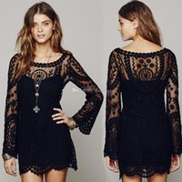 Wholesale Free People Long Dress - Commemorative Bell Sleeve Dress Free Casual femininos People Crochet Floral Lace embroidery dresses vestido de renda women
