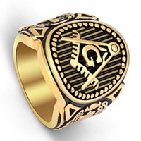 Classic Vintage 316L Stainless Steel Men Ring Gold Free Mason Freemasonry Masonic Masculino Retro Punk Black Brand Ring Jewelry