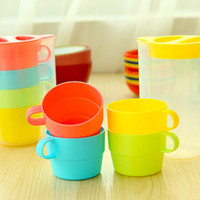 Wholesale 4 set Candy color cup set coffee mug cup with lid tea set zakka travel drinkware outdoor fun sports Novelty household dandys