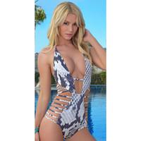 Wholesale Snake Swimwear - 2016 New Hot Sexy Womens Snake Print Backless Cut Out Deep V Bathing Suit Brazilian Monokini Swimsuits Swimwear One Piece Bodysuit Badpak