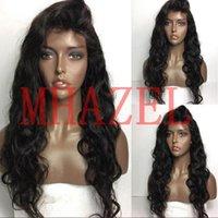 dalgalı insan saçlı dantel peruk toptan satış-Siyah Kadınlar Için brezilyalı Uzun Dalgalı Peruk Brezilyalı İnsan Saç Tam Dantel Ön Peruk 130% Bebek Saç